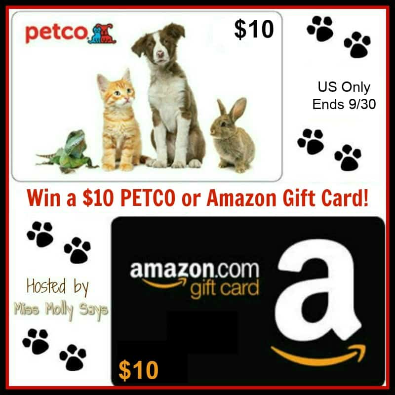 $10 Petco or Amazon Gift Card Giveaway
