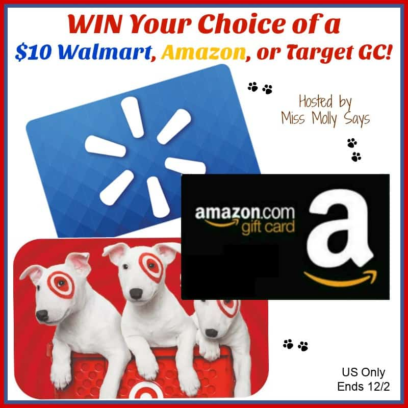 Enter for a chance to #win your choice of a $10 Walmart, Amazon, or Target GC in our 'Holiday HOHOHO' Giveaway Hop! #HOHOHOhop