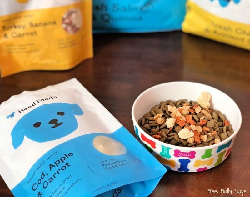 Heed Foods Freeze-Dried Toppers on top of kibble