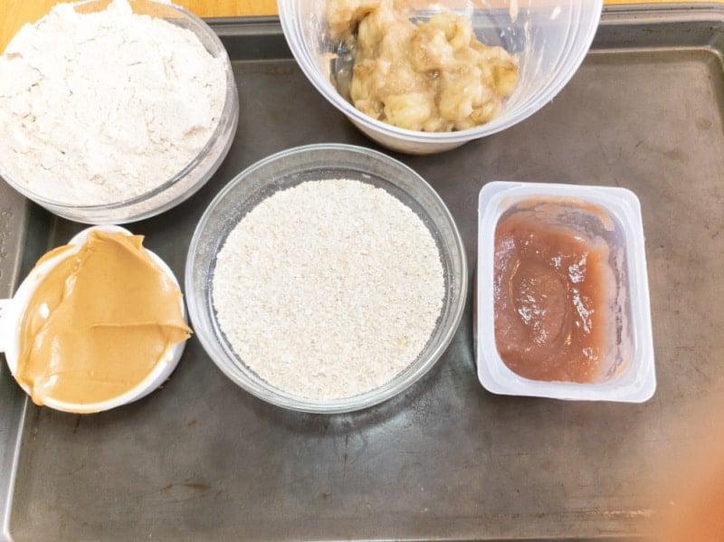 Peanut Butter Oatmeal Banana Dog Treats ingredients needed