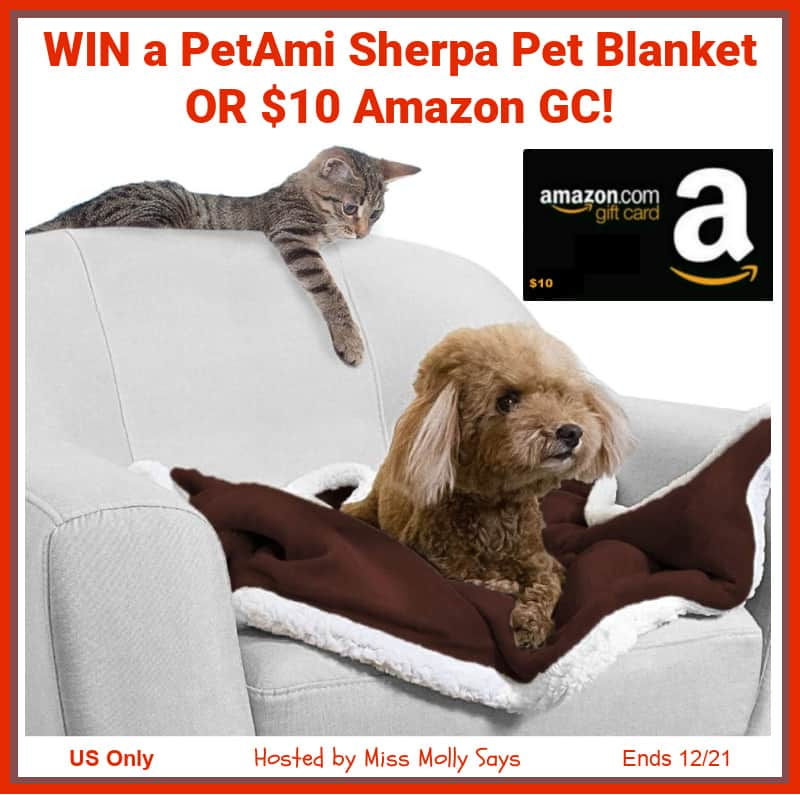 Enter for a chance to #win a PetAmi Sherpa Pet Blanket OR $10 Amazon GC in 'Winter Is Coming' Giveaway Hop!