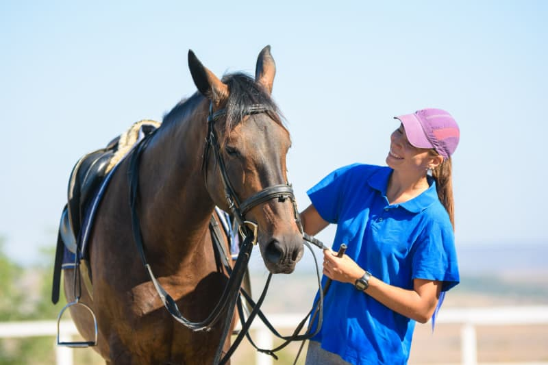 Happy woman looking at a beautiful horse